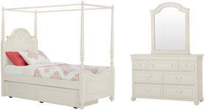 Charlotte Ivory Canopy Trundle Bed. VIEW LARGER  sc 1 st  City Furniture & City Furniture: Charlotte Ivory Canopy Trundle Bed