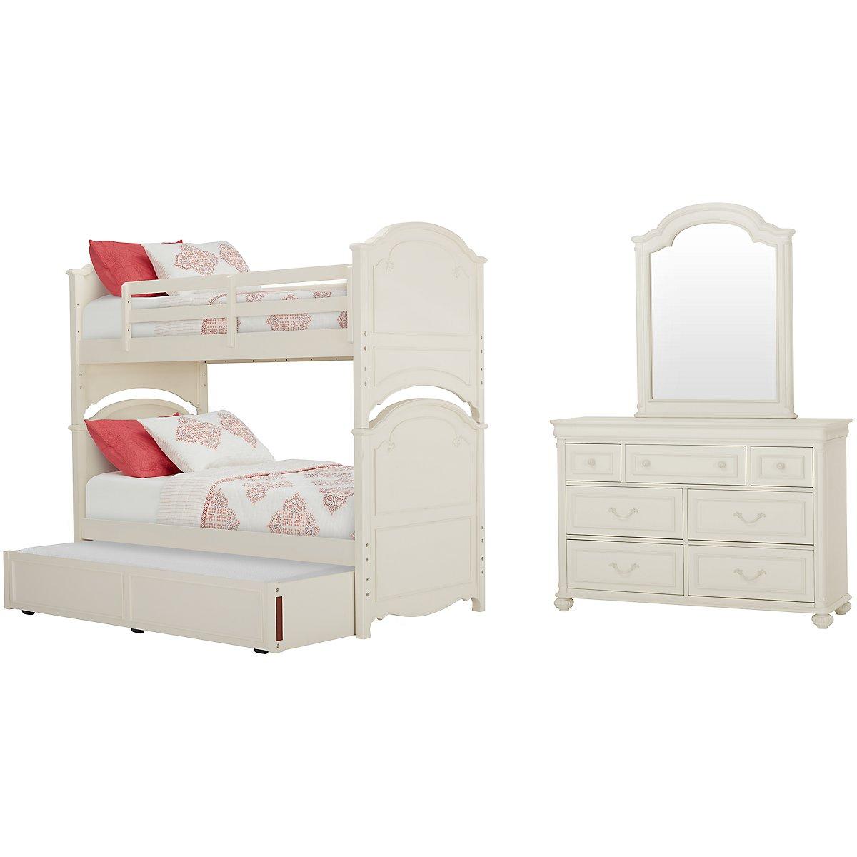 Charlotte Ivory Wood Bunk Bed Trundle Bedroom