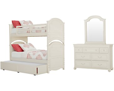 Charlotte Ivory Bunk Bed Trundle Bedroom