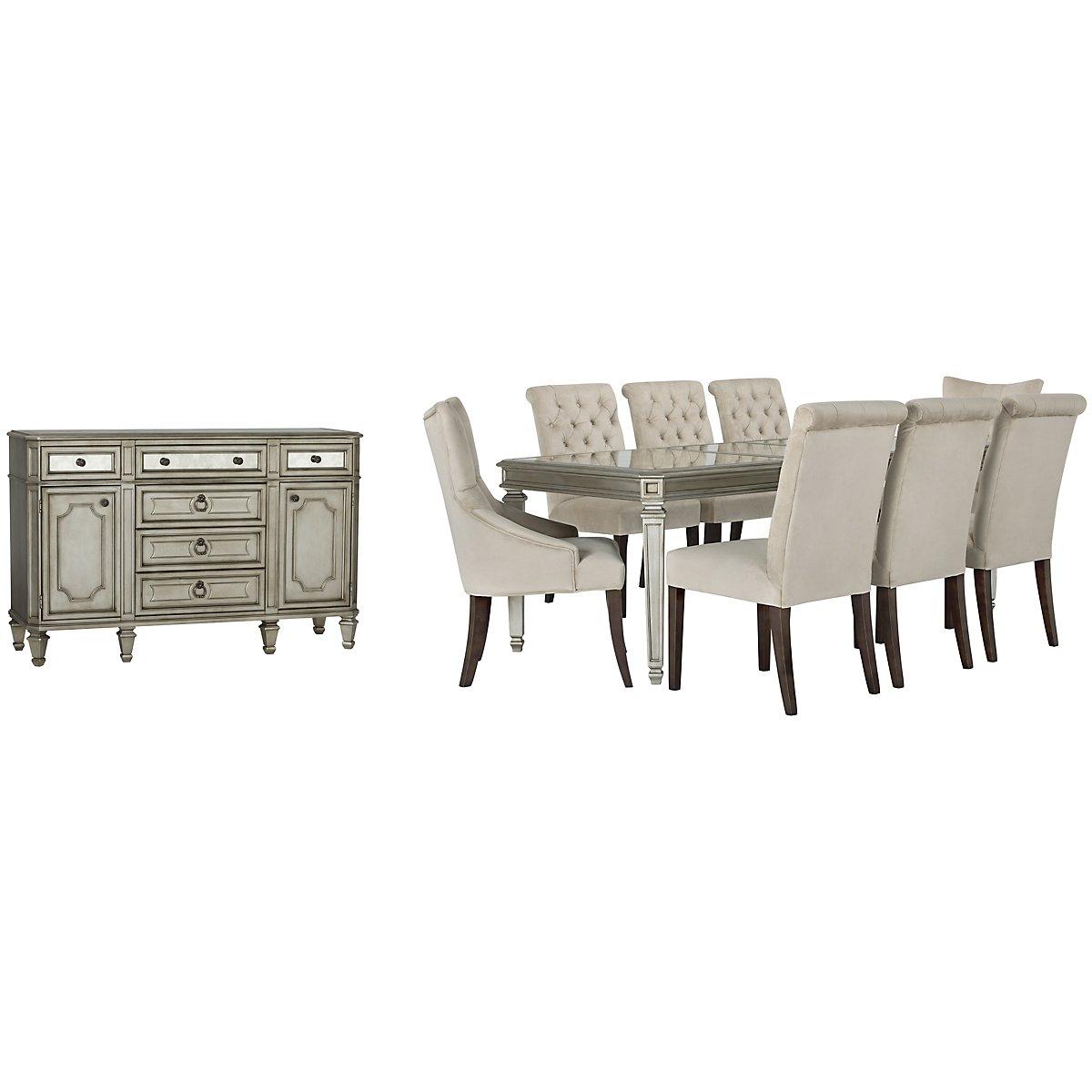 Sloane Light Beige Upholstered Rect Dining Room