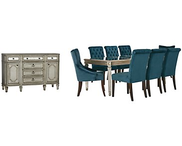 Sloane Dark Blue Rectangular Dining Room