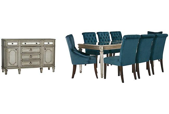 Sloane Dark Blue Upholstered Dining Room