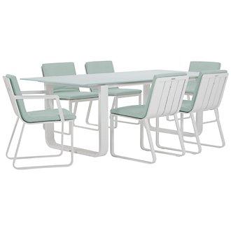 "Ibiza Teal 88"" Rectangular Table & 4 Cushioned Chairs"