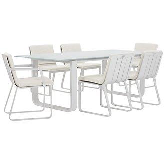 "Ibiza White 88"" Rectangular Table & 4 Cushioned Chairs"