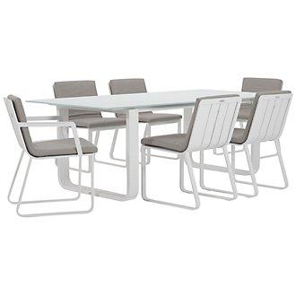"Ibiza Gray 88"" Rectangular Table & 4 Cushioned Chairs"
