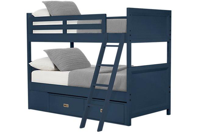 Ryder Dark Blue Wood Storage Bunk Bed
