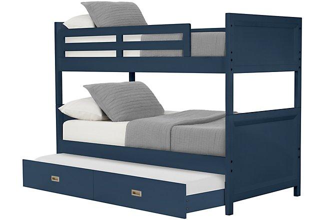 Ryder Dark Blue Wood Trundle Bunk Bed