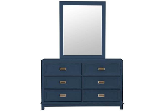 Ryder Dark Blue Wood Dresser & Mirror