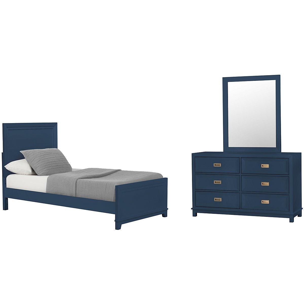 Ryder Dark Blue Panel Bedroom