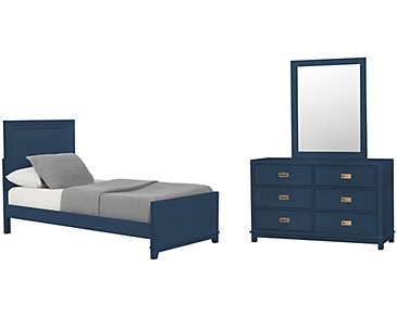 Ryder Dark Blue Panel Bedroom