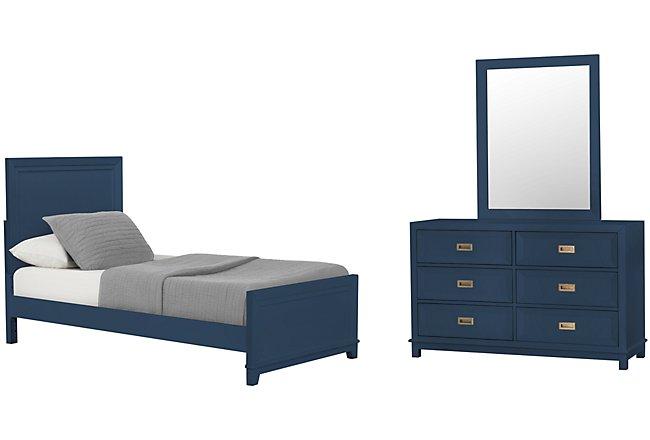 Ryder Dark Blue Wood Panel Bedroom