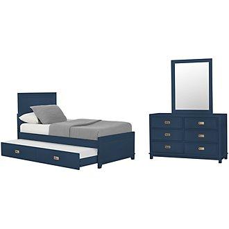 Ryder Dark Blue Panel Trundle Bedroom
