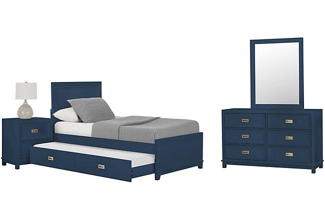 Ryder Dark Blue Wood Panel Trundle Bedroom