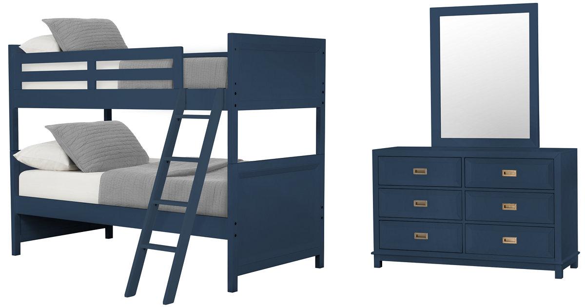 City Furniture Ryder Dk Blue Bunk Bed Bedroom