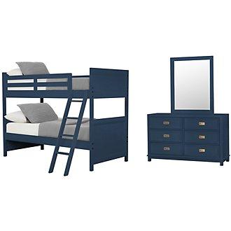 Ryder Dark Blue Bunk Bed Bedroom