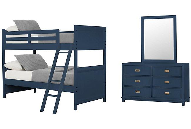Ryder Dark Blue Wood Bunk Bed Bedroom