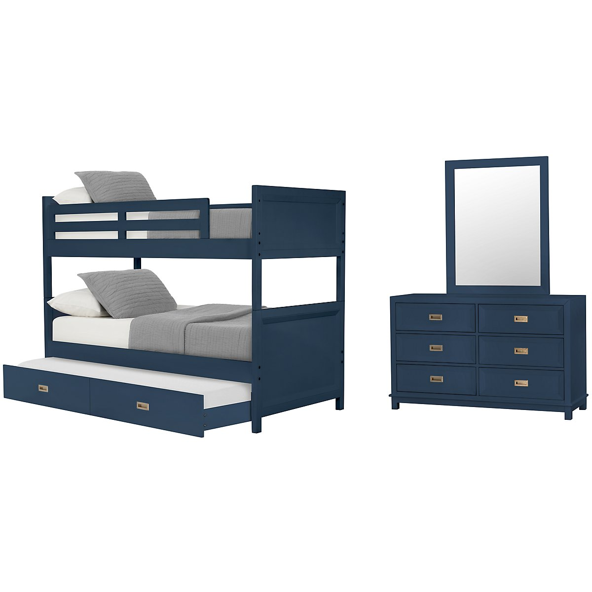 Ryder Dark Blue Bunk Bed Trundle Bedroom