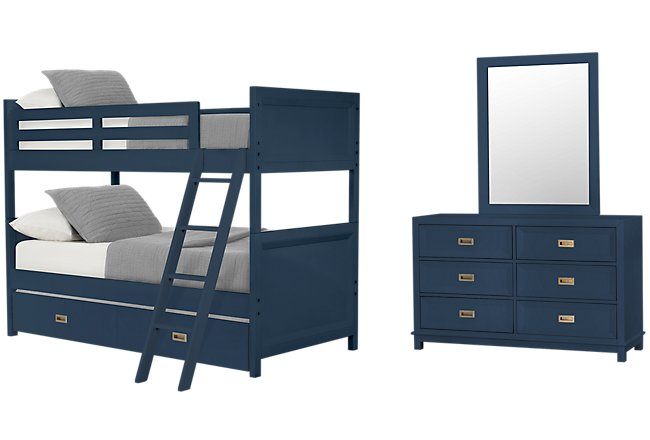 Ryder Dark Blue Wood Bunk Bed Trundle Bedroom