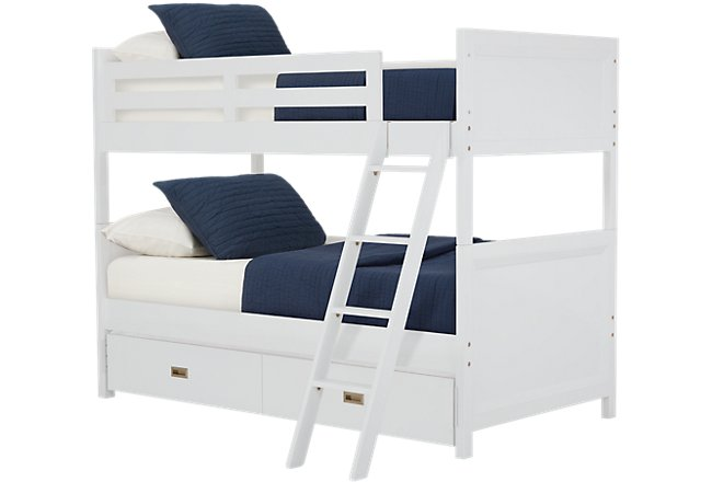 Ryder White Wood Trundle Bunk Bed