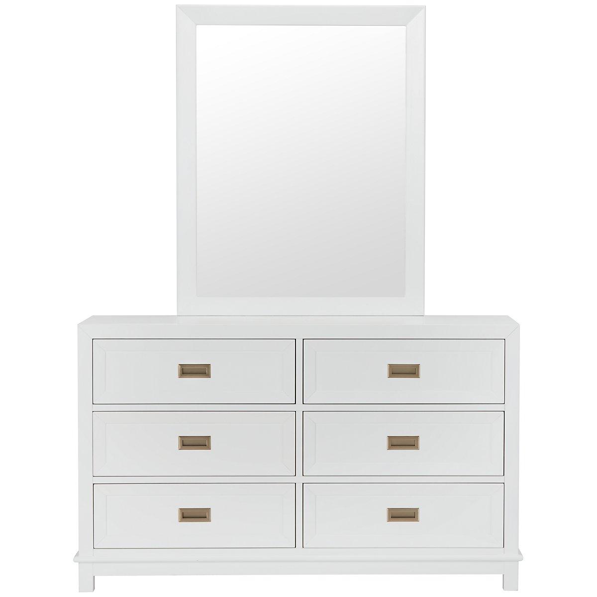 Ryder White Wood Dresser & Mirror