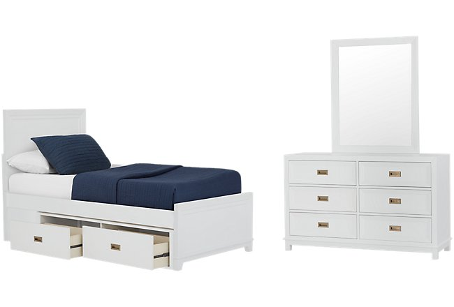 Ryder White Wood Panel Storage Bedroom