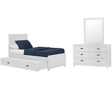 Ryder White Panel Trundle Bedroom