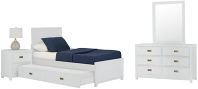 ryder white panel trundle bed