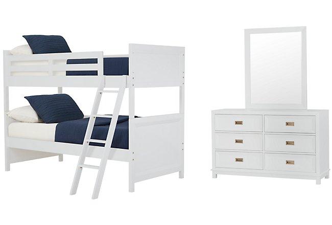 Ryder White Wood Bunk Bed Bedroom