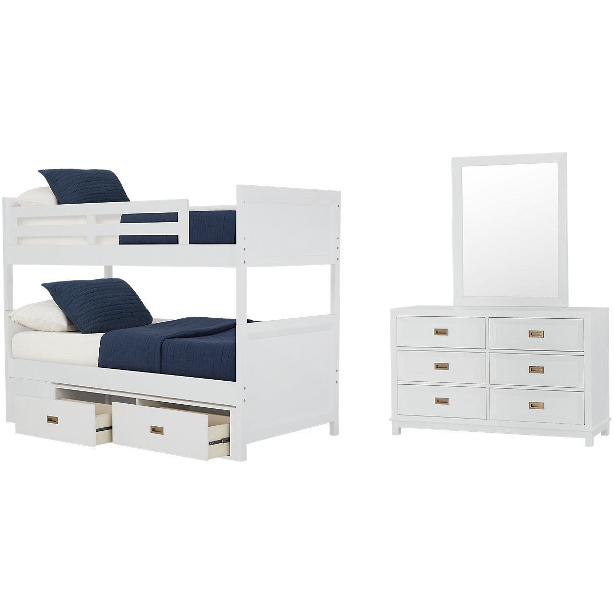 Ryder White Bunk Bed Storage Bedroom
