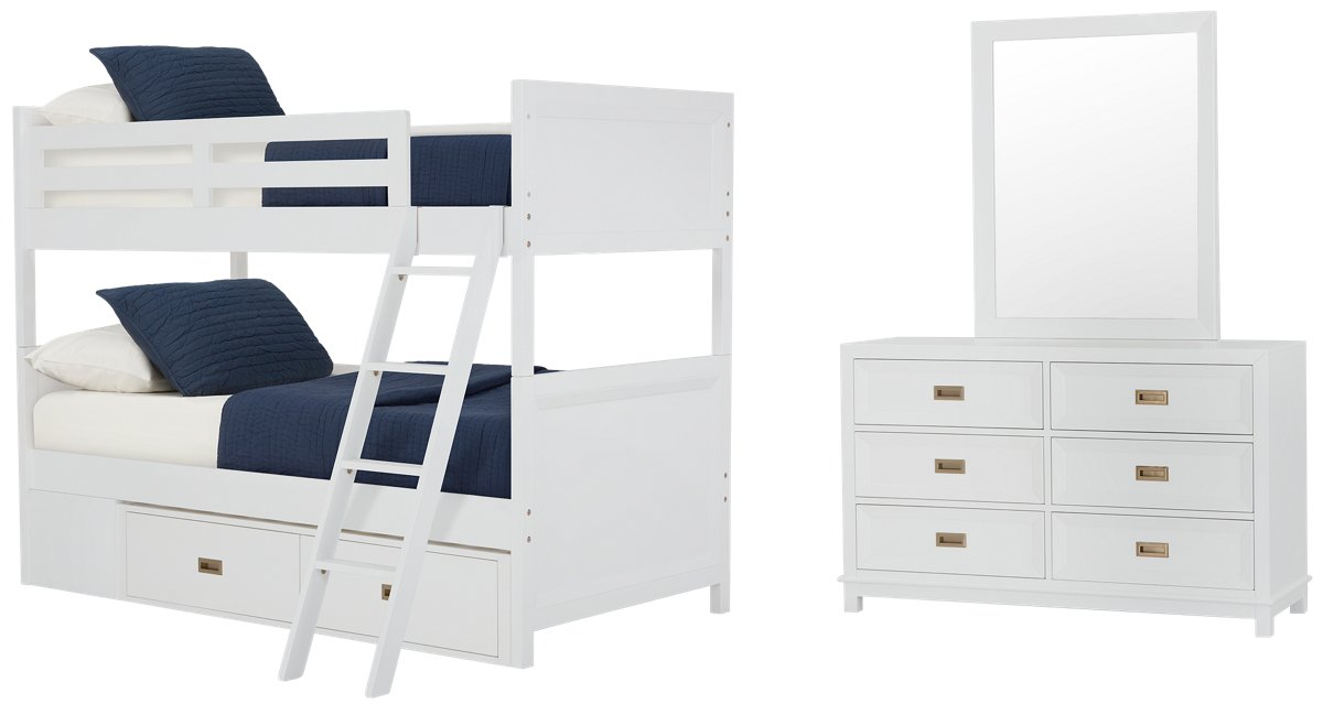Ryder White Wood Bunk Bed Storage Bedroom