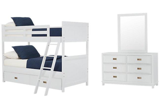 Ryder White Wood Bunk Bed Trundle Bedroom
