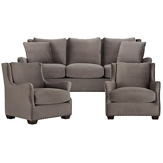 Connor Dark Gray Microfiber Living Room