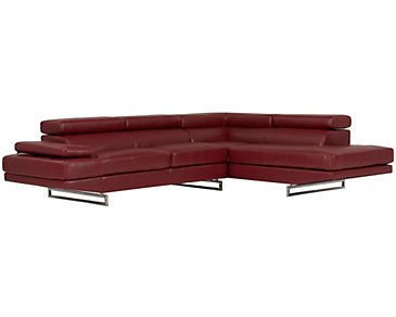 Athena Red Bonded Leather Right Bumper Sectional