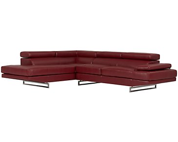 Athena Red Bonded Leather Left Bumper Sectional