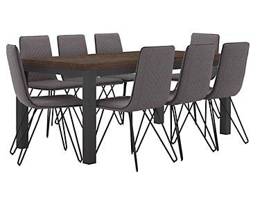 Gabe Dark Tone Rectangular Table & 4 Upholstered Chairs