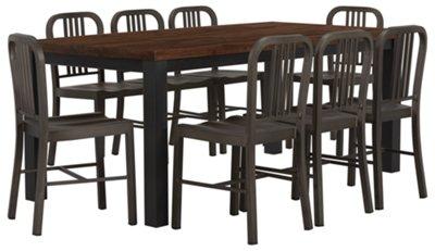 Gabe Dark Tone Rectangular Table & 4 Metal Chairs