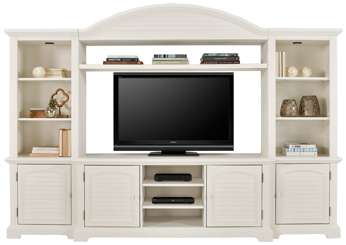 Quinn White Wood Entertainment Wall