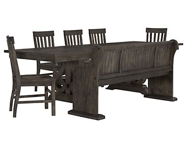 Sonoma Dark Tone Table, 4 Chairs & Bench