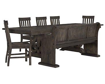 Sonoma Dark Tone Table, 4 Chairs & Bench