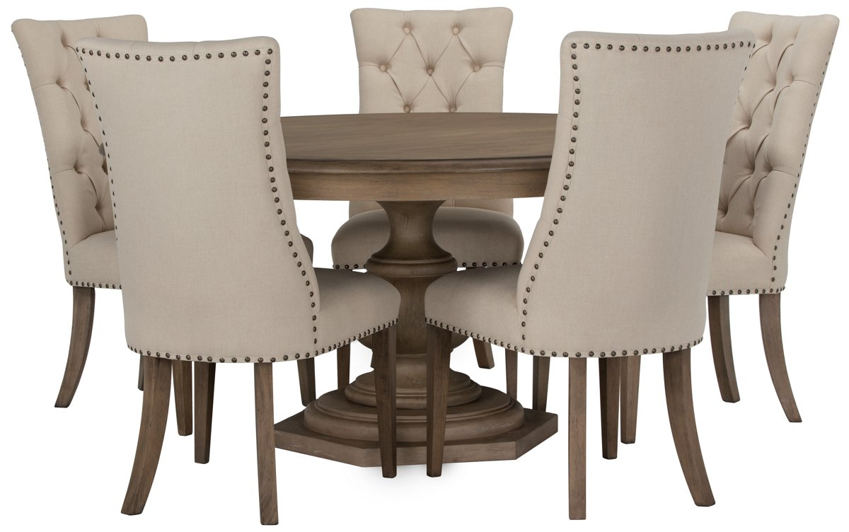 round table with chairs Haddie Light Tone Wood Table & 4 Upholstered Chairs round table with chairs