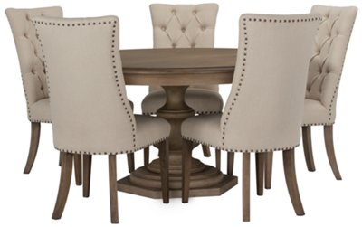 Amazing Round Table With Chairs Part - 2: Haddie Light Tone Round Table U0026 4 Upholstered Chairs