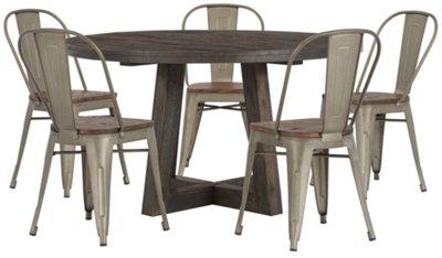 Orson Dark Tone Round Table U0026 4 Wood Chairs