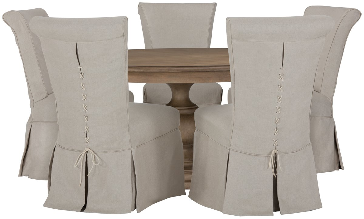 Haddie Light Tone Round Table & 4 Skirted Chairs