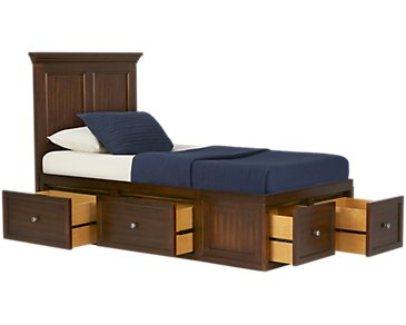 Spencer Mid Tone Six-Drawer Platform Storage Bed
