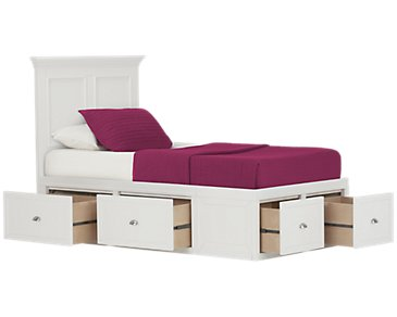 Spencer White Six-Drawer Platform Storage Bed