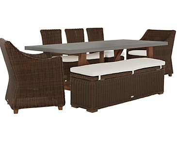 Canyon Concrete Dark Brown Rectangular Table & Mixed Chairs