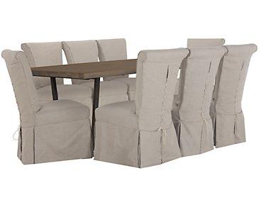 Alister Light Tone Rectangular Table & 4 Upholstered Chairs
