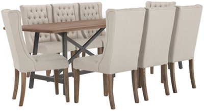 Camilla Light Tone Rectangular Table & 4 Tufted Chairs