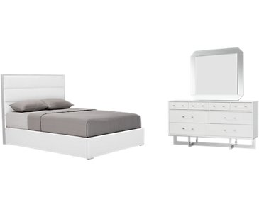 Cortina White Upholstered Platform Bedroom