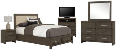 Omaha Gray Upholstered Platform Storage Bedroom Package